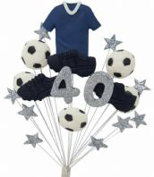 Football 40th birthday cake topper decoration blue shirt - free postage